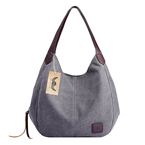 PB-SOAR Damen Mädchen Modern Canvas Shopper Schultertasche Handtasche Henkeltasche Hobo Bag Beuteltasche (Grau)