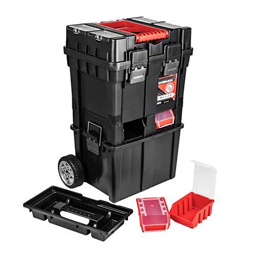 Güde Werkzeugkoffer Trolley Multifunktionswerkzeugkiste Werkzeugkasten teilbar rollende Werkstatt, schwarz