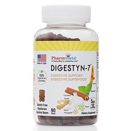 Digestyn7 - Organic Digestive Gummies 200mg 90 Count - Organic Ginger, Garlic, Turmeric, Cinnamon, Fennel, Fenugreek and Mint
