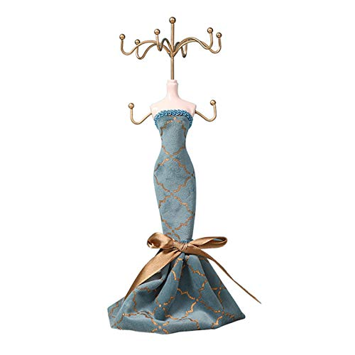 OMING Jewelry Boxes Vintage Jewelry Stand Fashionable Human Model Bracket Metal Earrings Rack Blue Double-Deck Jewelry Display Stand,10.6 Inch Height jewelry box for women (Color : A)