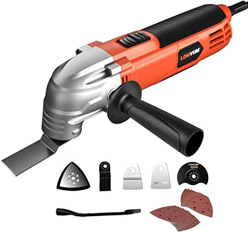 Oscillating Tool, Lomvum 2A Corded Oscillating Multitool Kit with 3° Oscillation Angle and 6 Variable Speed Oscillating Saw for Cutting/Sanding/Scraping/Ground Removal
