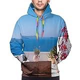 Men's Hoodies 3D Print Pullover Sweatershirt,View of Mediterranean Santorini Aegean Sea Seascape Holiday Artwork,3XL