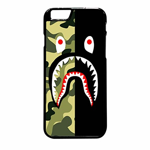 Bape Shark Green Camo And Black iPhone 6 Pus/6s Plus Case (Black Plastic)