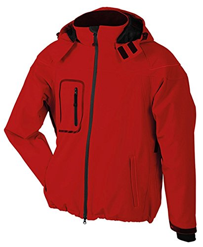 James & Nicholson JN 1000, giacca invernale da uomo, in pile softshell, Uomo, Men´s Winter Softshell Jacket, Rot, 48