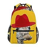 Rucksack mit rotem Hut, Giraffe, große Kapazität, Schultasche, Canvas, lässiger Reise-Tagesrucksack, perfekt für Damen, Herren, Mädchen, Jungen