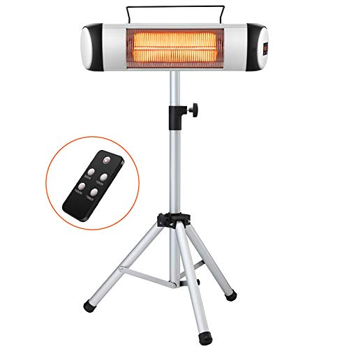 Kismile Electric Patio Heater,Portable Outdoor Heaters,Infrared Patio Heaters for Indoor/Outdoor use,Freestanding Wall Heater,Garage Heater with Remote&Timer,500W-1500W Adjustable Heating Modes with Display and Switch