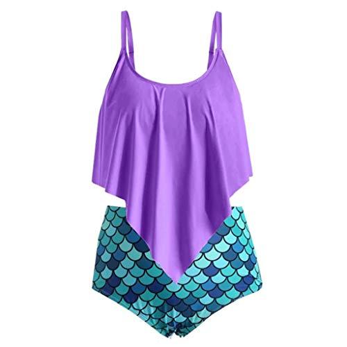 SHINEHUA Bikini Set Damen Mermaid Fish Scale Strap Badeanzug Crop Top Flounce Bikini Zweiteilige Bademode mit Hoher Taille Strandkleidung Badeanzug Große Größen Hohe Taille Tankini Set
