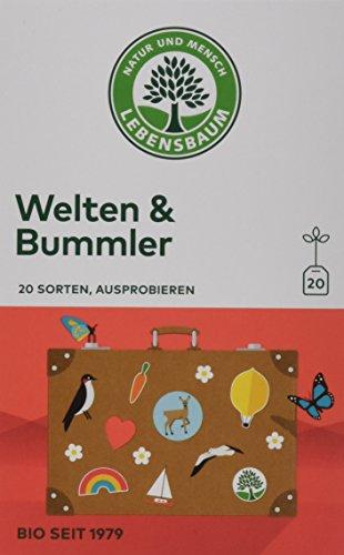 Lebensbaum Bio Tee Welten & Bummler 20 Sorten zum Probieren, 3er Pack (3 x 37 g)