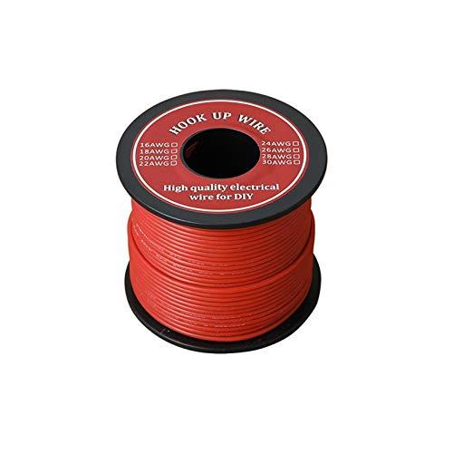Duradero 100m / Rodillo Alambre eléctrico UL3132 26AUGG Soft Silicone Aislante Conector trenzado Alambre de alambre de alambre Electrón de cobre para bricolaje Lámpara Resistencia a altas temperaturas