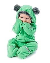 Cuddle Club Mono Polar Bebé para Recién Nacidos a Niños 4 Años - Pijamas Infantiles Chaqueta de Invierno Abrigo Polar Niño Mono de Niños - BearGreen6-12m