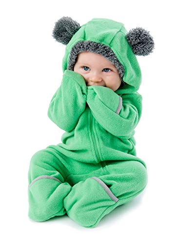 Cuddle Club Fleece Baby Bunting Infant Bodysuit Kids Hooded Romper - Bear - Green - 3-6 Months