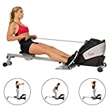 Sunny Health & Fitness Dual Function Magnetic Rowing Machine w/ Digital Monitor, Multi-Exercise Step...