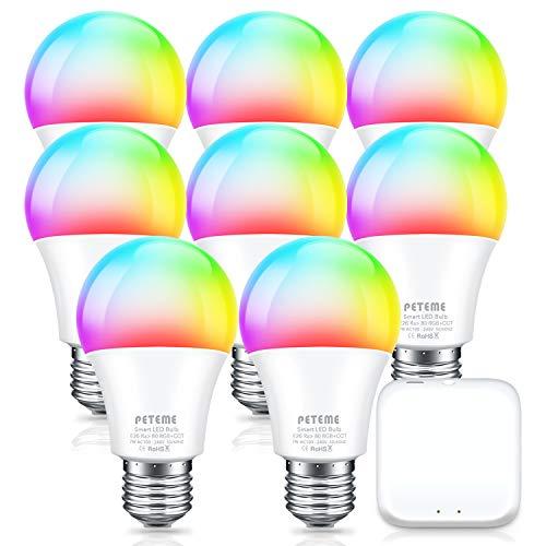 Smart Alexa Light Bulbs, Peteme Color Changing WiFi RGB Light Bulbs, 8 Bulbs & 1 Hub Compatible with Alexa, Siri, Echo, Google Home, E26 A19 60W Equivalent