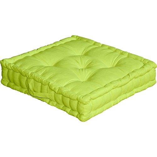 Cuscino da pavimento con maniglia, 50 x 50 x 10 cm, 100% cotone, Verde