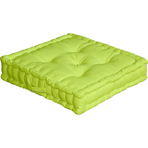 Cuscino da pavimento con maniglia, 50 x 50 x 10 cm, 100{12dadbc33003a4afe17b28a9f5d10324b660264c638924af5369d853b3538e36} cotone, Verde