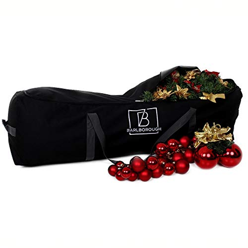 Barlborough Christmas Tree Storage Bag | Protection For Artificial Xmas Trees & Decorations Up To 7ft Black | Strong Quality Waterproof Lockable Large Holdall Bags