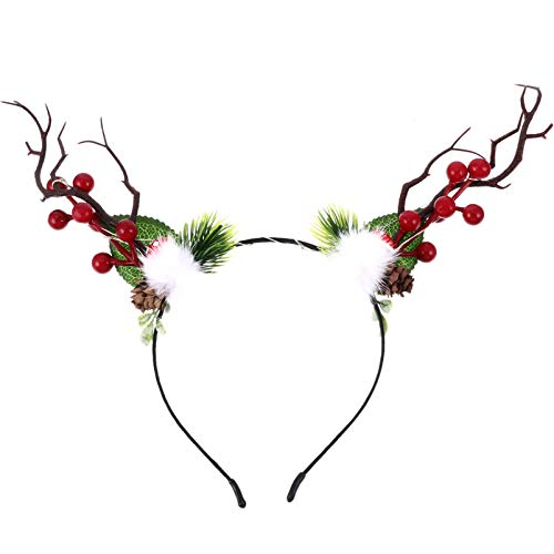 ifundom Navidad Asta Diadema Floral Berry Tree Branch Reno Elk Hair Hoop Light up Headwear Tocado Cosplay Disfraz para Mujeres Girls Party Fancy Dress