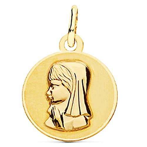 Medalla oro 18k Virgen Niña 14mm. relieve lisa brillo mate