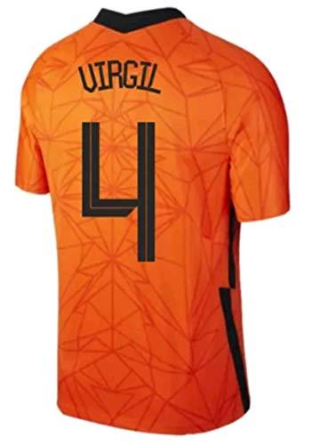 LISIMKEM 2020-2021 Men's Home Soccer Jersey/Short Colour Orange (Netherlands Van Dijk #4 (S))