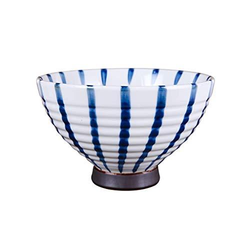 GWSGSCSL High Foot Ramen Bowl, Blue Stripes Personality Thicken Ceramic Bowl Fruit Salad Bowl , Soup Bowl Kitchen Cutlery (Size : 7.8inch)