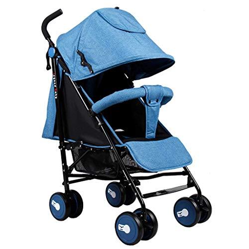 Meen kinderwagen, lichte draagbare paraplu kan zitten, steunende kinderwagen blauw