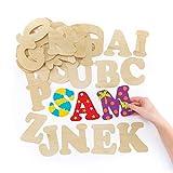 Baker Ross Große Buchstaben aus Holz zum Basteln und Bemalen für Kinder - ideal für Schriftzüge und als Dekoration - 52 Stück
