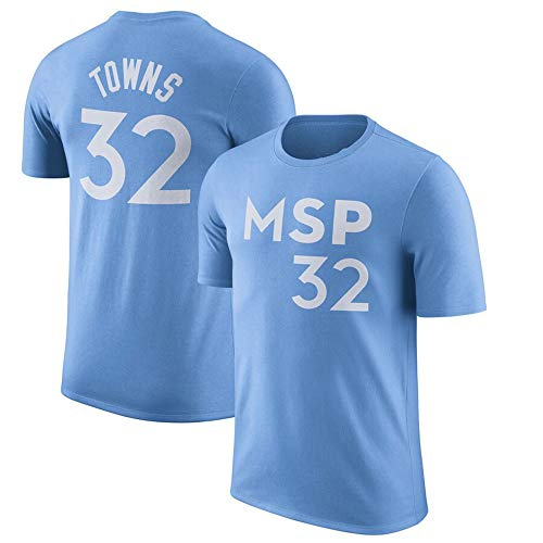 HS-XP Minnesota Timberwolves # 32 Karl-Anthony Towns NBA Basketball Camisetas, Camiseta del Músculo Sin Mangas De La Camiseta del Camisón De Los Hombres,Light Blue,XXL(180~190cm)