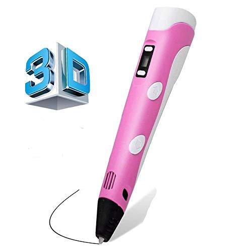 HOTSO Penne per Stampa 3D Pen da Disegno con Schermo LCD Controllo della Temperatura Giocattoli Regali per Bambini Creativo Pittura Doodling, Rosa