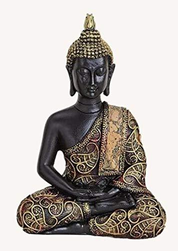 G.W. Tolle Buddha-Figur sitzend, Hände im Schoß haltend, 15 cm Höhe in schwarz Gold und rot, Deko-Artikel für Wohnung & Haus, Buddha-Skulptur, Wohnaccessoire Zuhause