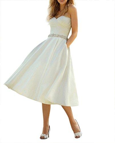YASIOU Hochzeitskleid Damen Kurz A Linie Weiß Satin Glitzer Herzausschnitt Trägerlos Brautkleider