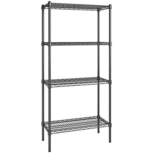 14 inch x 30 inch Certified Black Epoxy 4 Shelf Kit with 64 inch Posts. Storage Shelf. Garage Storage Shelves. Shelving Units and Storage. Food Storage Shelf. Storage Rack. Bakers Racks