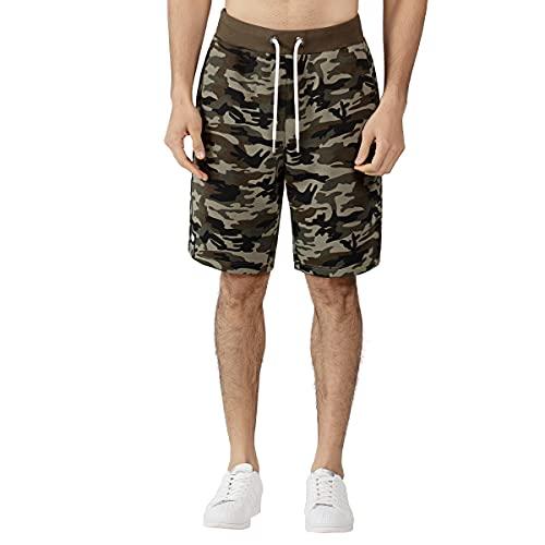 Hommes Camo Shorts Terry Army Camouflage Combat Pantalon Court Casual Cargo Beach Demi Pantalon Sport Poches Shorts Camo Vert et Gris (S, Camo Green)