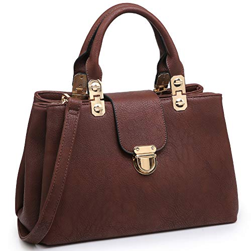 Dasein Women Satchel Handbags Top Handle Purse Medium Tote Bag Vegan Leather Shoulder Bag Coffee