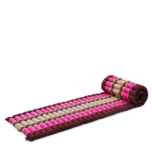 Leewadee colchoneta tailandesa Enrollable S – Futón para Dormir, colchón para masajes Grueso, Alfombrilla de kapok ecológico, 200 x 50 cm, castaño Rosado