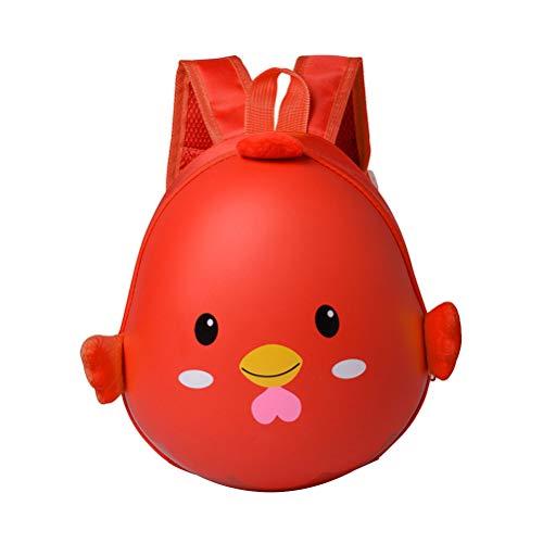 TOYANDONA Kinder Rucksack Eier Form Hühn Design mit Brustgurt Kindergartentasche Kindergartenrucksack Ostern Geschenk (Rot)