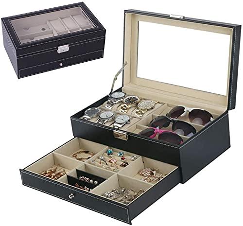 Caja de gafas 6 Slots Watch Box Jewelry Box Regalo para hombres Mujeres, Reloj de cuero PU Estuche Organizador Joyería Pantalla Cajón de cristal Top con cerradura