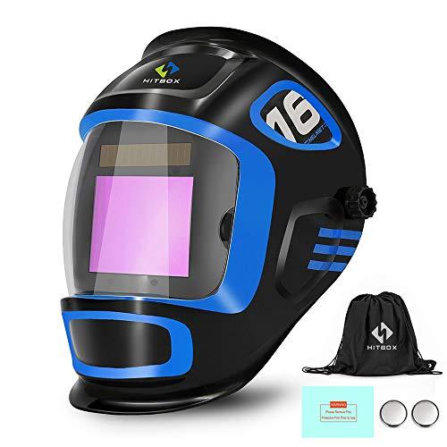 HITBOX Careta Soldar Automatica de Gran Vista, Pantalla de Soldar Color Verdadero con Amplio Rango de Sombra Ajustable 4/9-13 para Casco Soldador de Arco Mig Tig (X900)