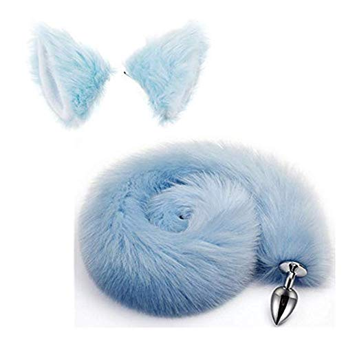Bnmgh Blue Fluffy B-ütt P-l-ǔ-g Fox Tail, Cat Ears Headband Cosplay Role Play Halloween Toys Make Life Wonderful 2Pcs/Set