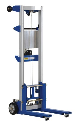 "Vestil A-LIFT-R-HP Fixed Straddle Hand Winch Lift Truck, 35"" Length, 25"" Width, 67-1/2"" Height, 400 lbs Capacity"