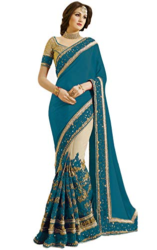 Nivah Fashion Women's Satin Embroidery Saree with Unstitched Blouse Piece (NH.K663-Morpeach)