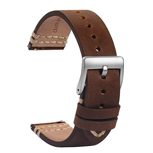 TStrap Leder Uhrenarmband 20mm - Weich Braun Quick Release Uhrenarmbänder Ersatz - Sport Uhrenarmband für Herren Damen - Smartwatches Armband mit Silber Schließe - 18mm 19mm 21mm 22mm