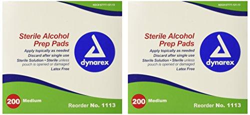 Dynarex 1113 Latex Free Sterile Alcohol Prep Pad (Pack of 400)