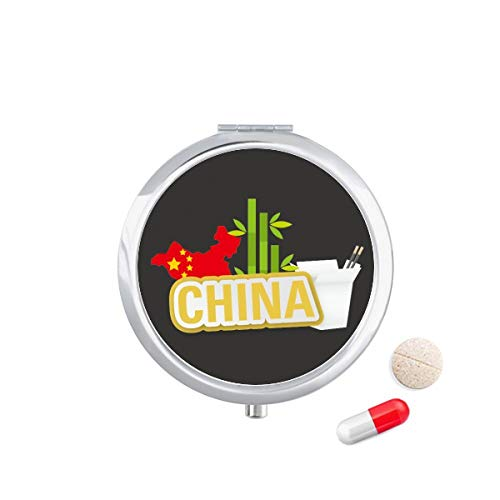 DIYthinker China Kaart Bamboe Geel China Stad Reizen Pocket Pill Case Medicine Drug Opbergdoos Dispenser Spiegel Gift