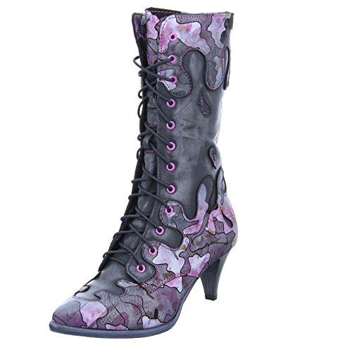 Simen Damen Stiefel 0679A Schnürstiefel Reißverschluss Leder Schwarz Pink Größe 41 EU