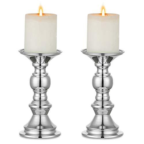 Nuptio 2 Stück Silber Säule Kerzenhalter, Hochzeit Mittelstücke Metall Kerzenhalter für 50mm Kerzen Stand Dekoration für Hochzeiten Besondere Ereignisse Partys Wohnzimmer Weihnachten, Kerzenständer