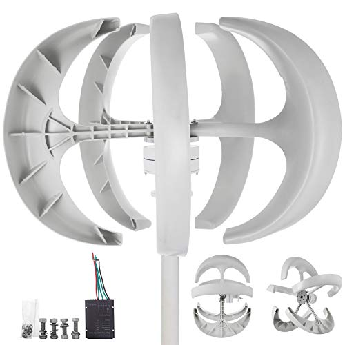 Happybuy Wind Turbine 400W 24V Wind Turbine Generator White Lantern Vertical Wind Generator 5 Leaves...