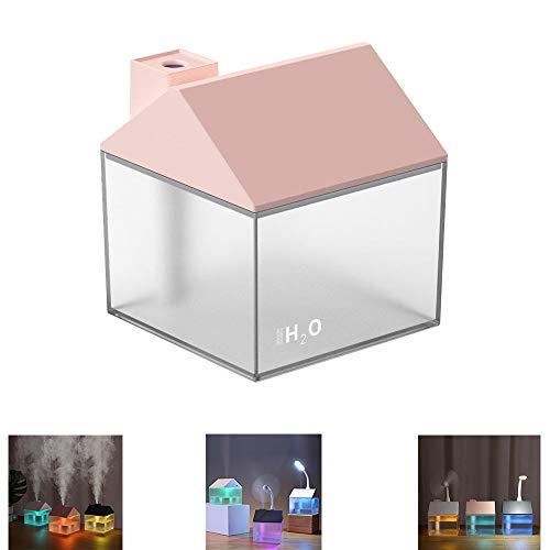 Mini-bevochtiger, kleur klein huis humidificador, 3-in-1 kleine huishoudbevochtiger USB, voor gebruik in de slaapkamer, kantoor, hotel, tent. roze