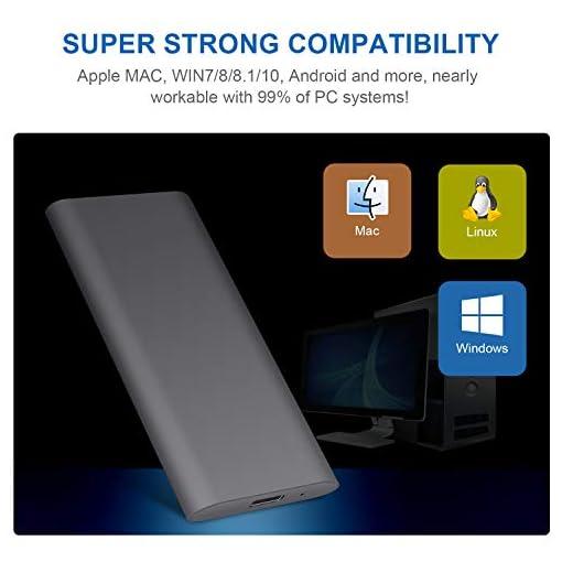 Disco Duro Externo 2tb Type C USB 3.1 Disco Duro Externo para Mac, PC, MacBook, Chromebook, Xbox (2tb, Gris) 5