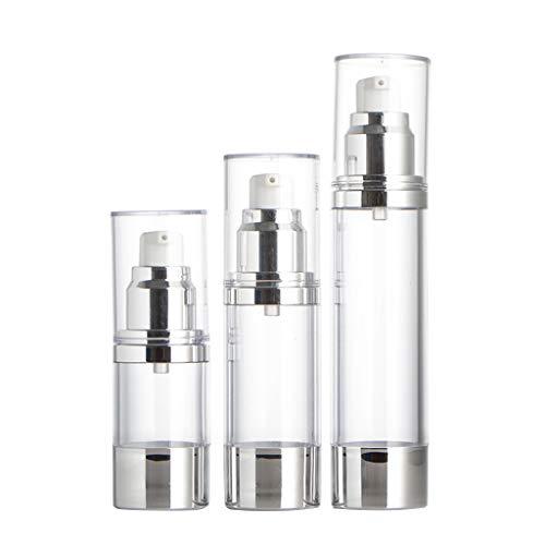 unkonw 3 paquetes de botellas de plástico vacías, botellas de bomba sin aire recargables con cerradura de viaje (15 ml/0.5 onzas, 30 ml, 50 ml/1.7 oz Capaci
