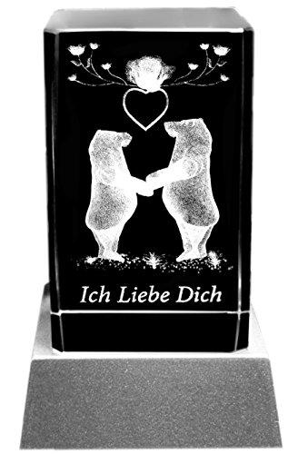 Kaltner Präsente Stimmungslicht – EIN ganz besonderes Geschenk: LED Kerze/Kristall Glasblock / 3D-Laser-Gravur Verliebte Bärchen ICH Liebe Dich